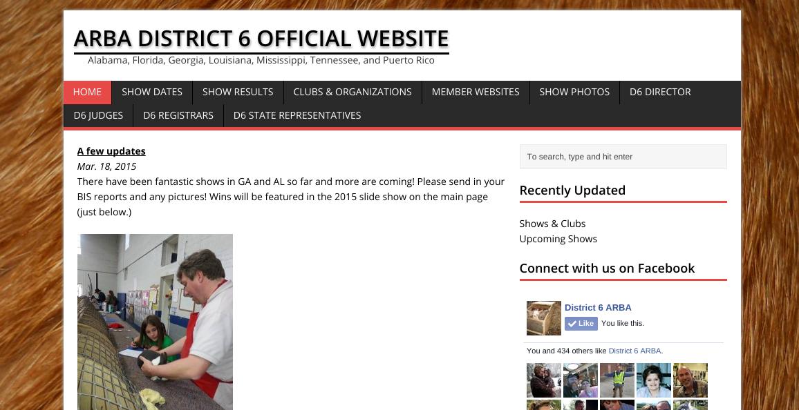 Screenshot of ARBA D6 Website March 2015